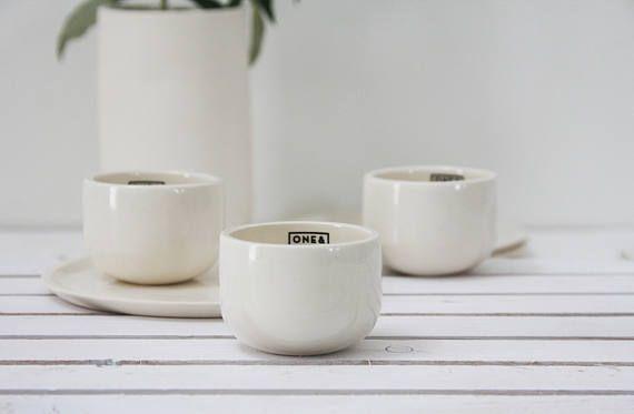 Ceramic Espresso Cup In White Unique Coffee Mug Modern Espresso