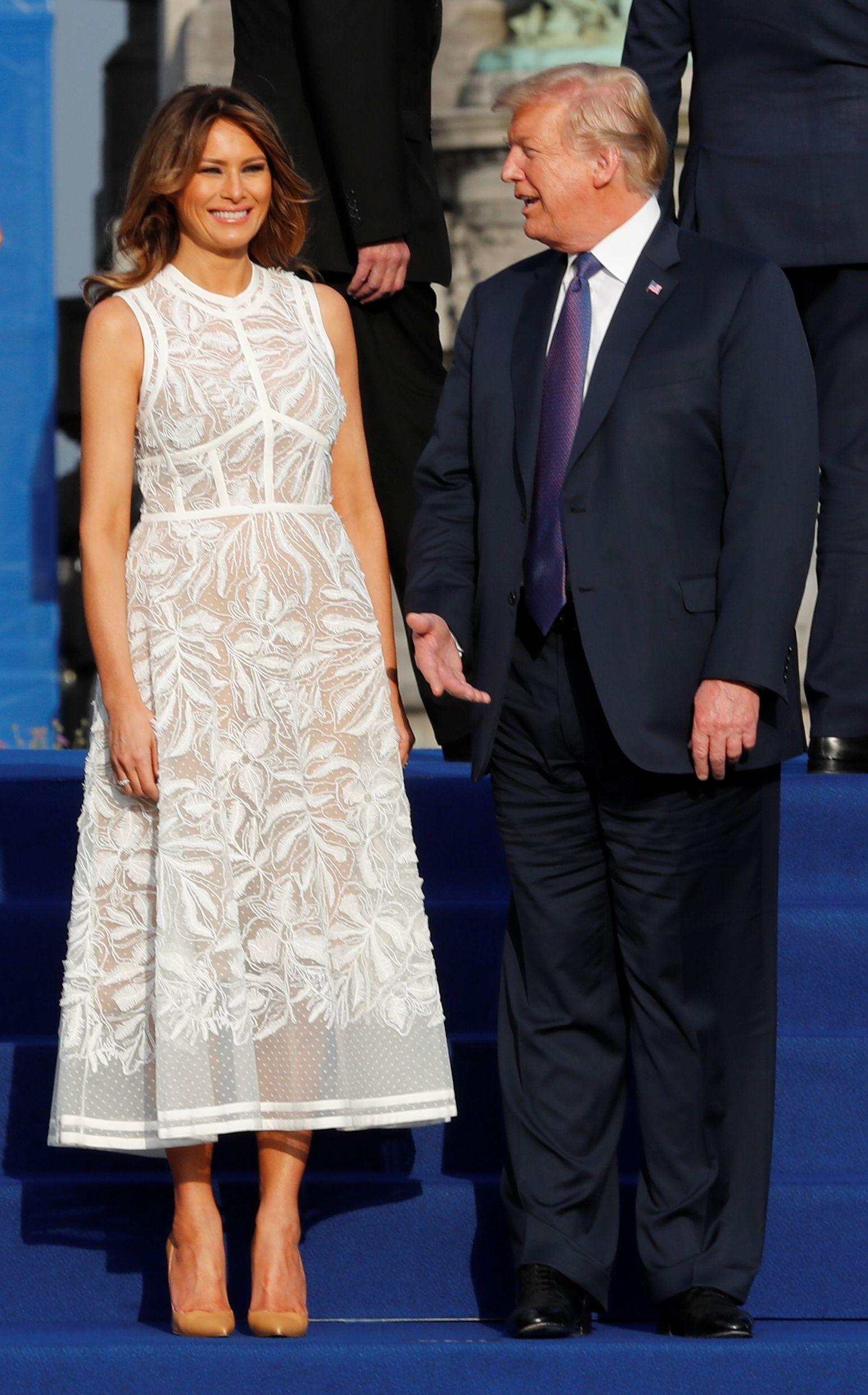 e23256364a3d Tremendous fan  Melania Trump meets Queen Elizabeth in Dior in 2019 ...