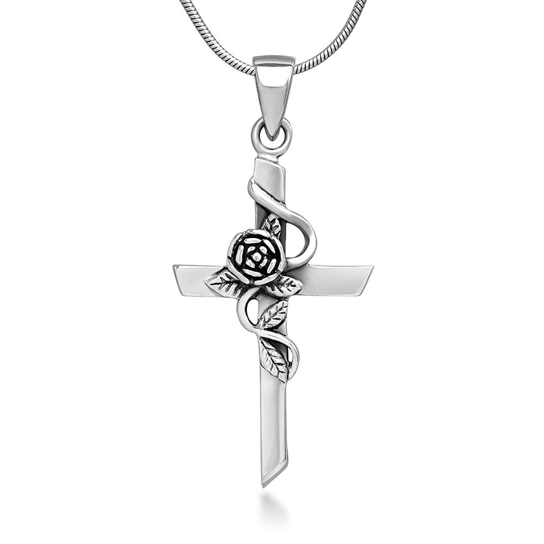 925 Sterling Silver Oxidized Cross Charm