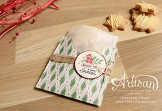Dressing up a glassine gift bag with a little This Christmas Specialty designer paper - Jennifer Frost