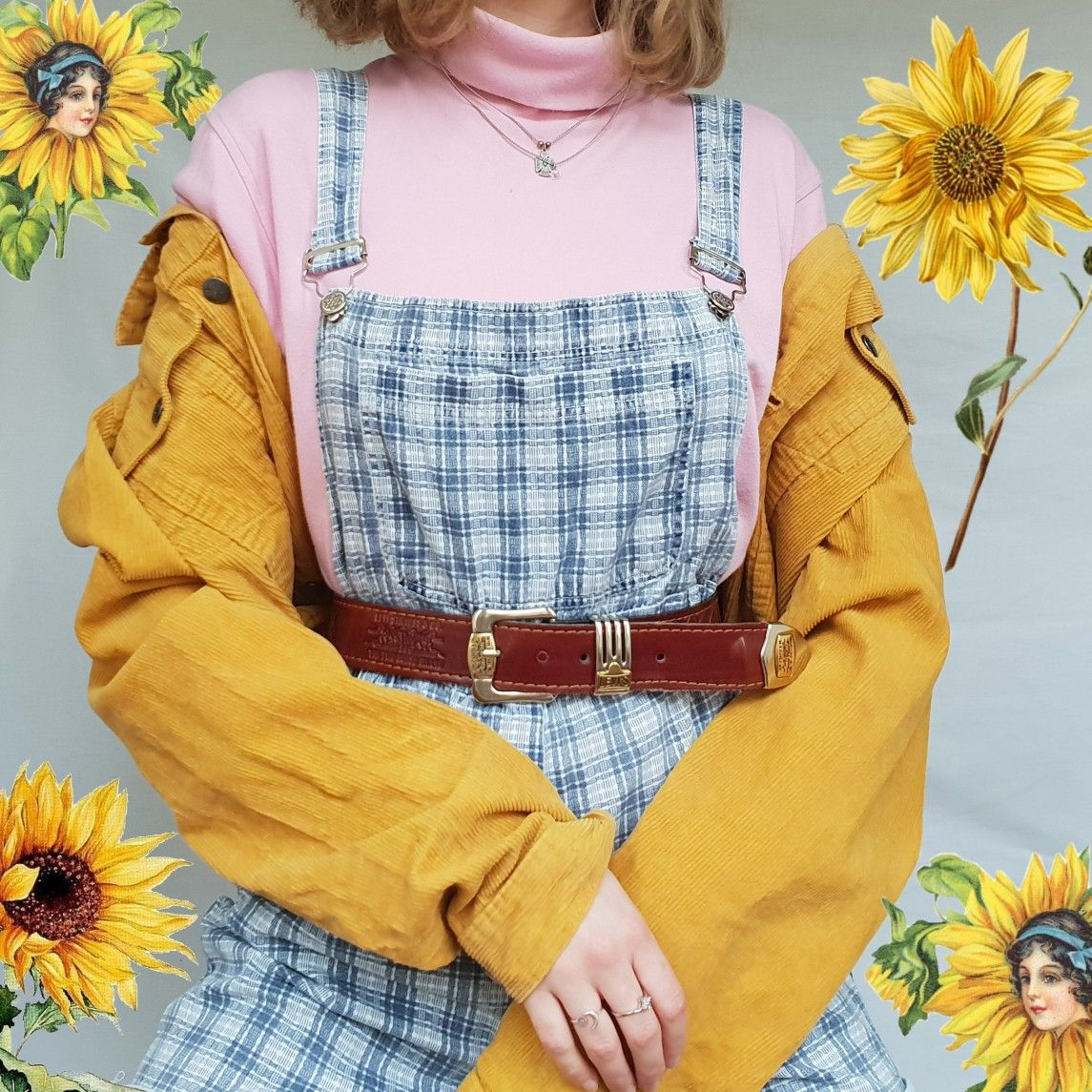 90s vintage outfit dubgarees muatard corduroy aesthetic ...