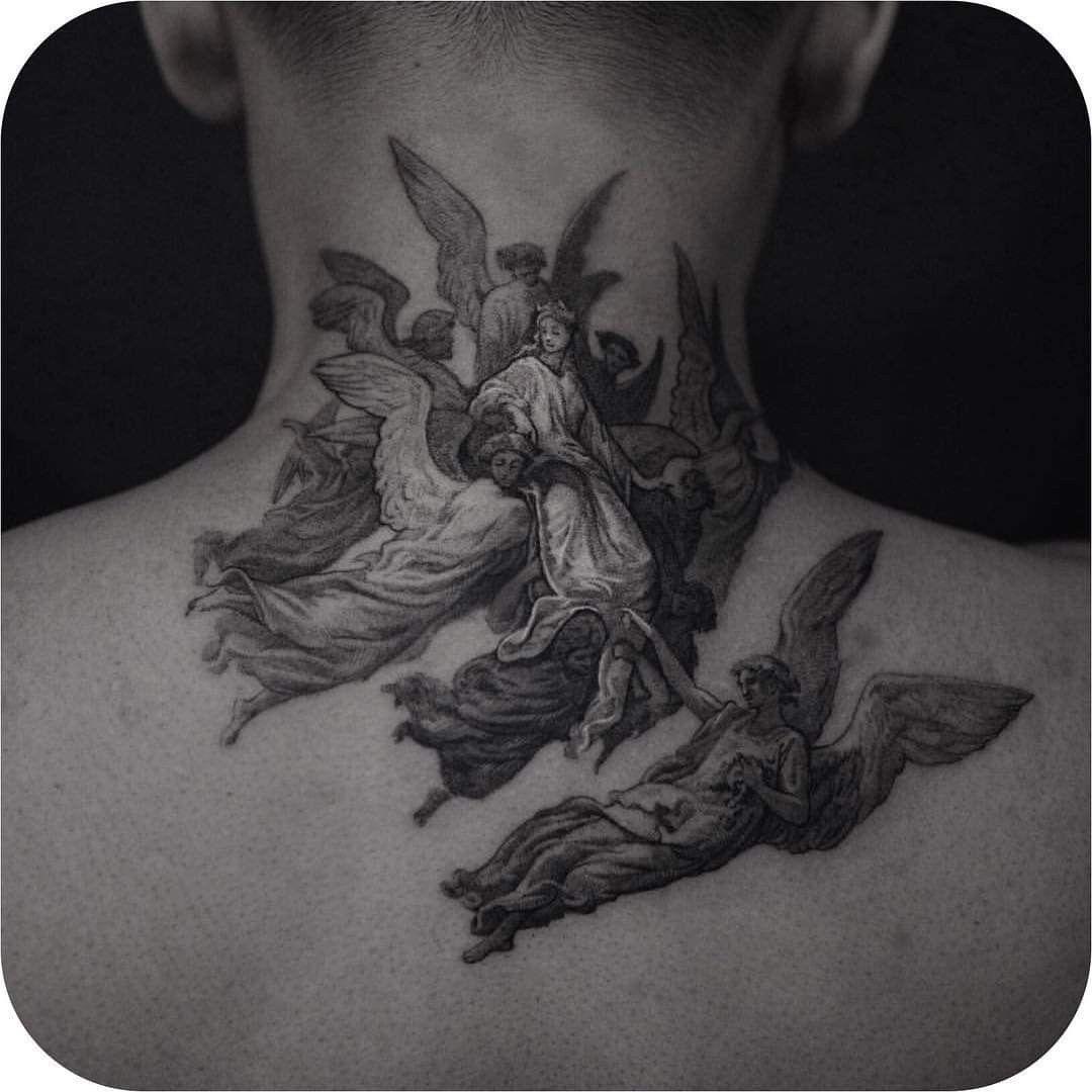 Angels Tatouage Tatouages Mignons Tatouage Nuque