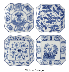 Square Blue and White Plates- Set of 4 \u2013 Lady Builder Shops  sc 1 st  Pinterest & Andrea by Sadek Asstorted 6.5\