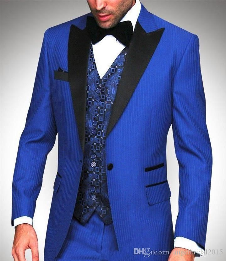 Royal Blue groom suits 2017 tuxedos for wedding peak lapel groom ...