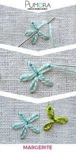 Margeriten sticken - Blumen sticken lernen - Pumora