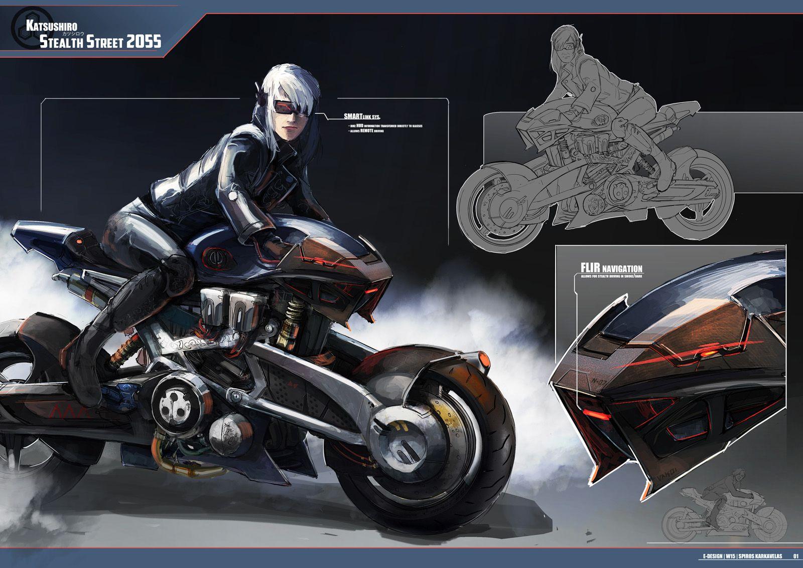 Samurai Cyberpunk Character Stealth Street 2055 Futuristic Motorcycle Katsushiro Futuristic Motorcycle Concept Motorcycles Motorbike Illustration