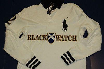 Polo Ralph Lauren Men Black Watch Big Pony White Rugby Shirt L Large Custom Fit Black Watch Polo Ralph Lauren Mens Rugby Shirt