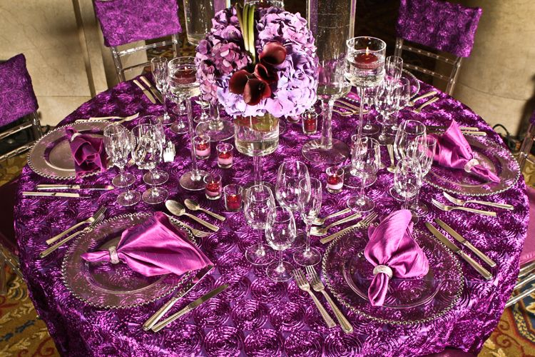 Delightful Purple Rosette Linens With Gold Chargers | Rosette Plum