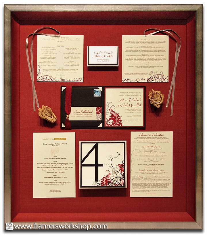 A Wedding Collection Framed Including The Roses Invitation Menu And Place Cards