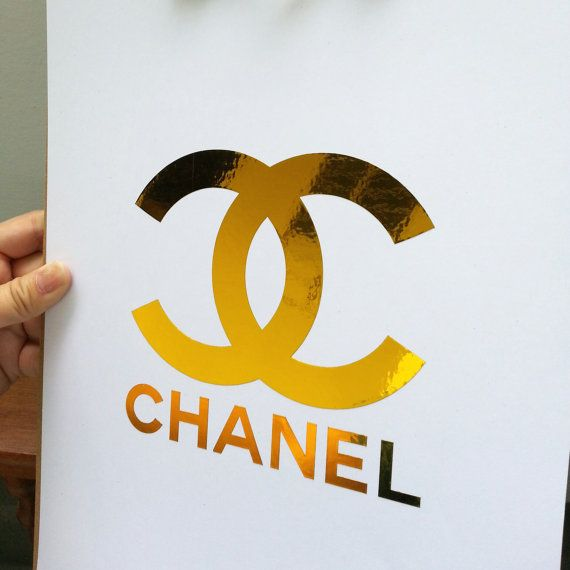 Chanel Gold Foil Cc Monogram Logo Art Print Coco Chanel