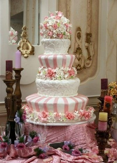 Interesting Wedding Cake With Gumpaste Flowers