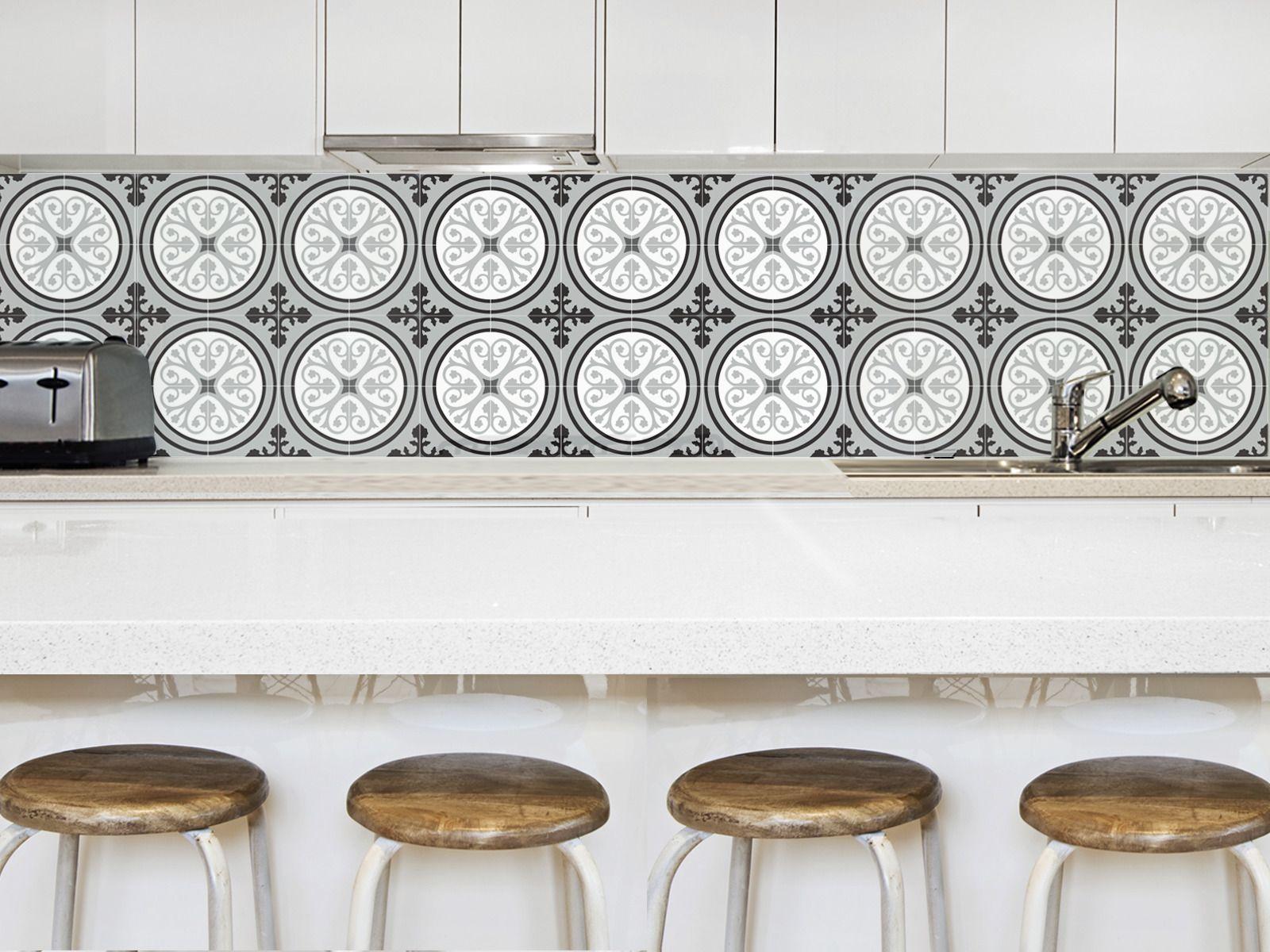 uzes gris papier peint autocollant carreaux de ciment gris d corations murales par la. Black Bedroom Furniture Sets. Home Design Ideas