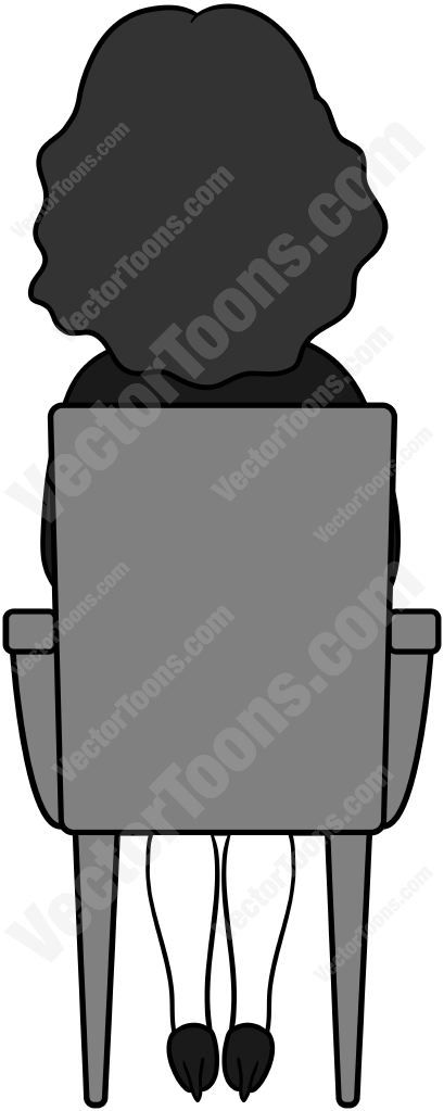 Back View Of A Woman With Dark Hair Sitting In A Chair Dark Hair Medium Length Hair Styles Cute Doodle Art