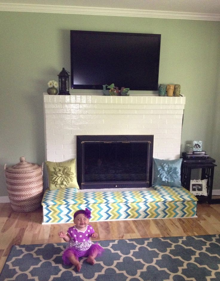 Baby-proof the fireplace hearth with a padded bench! | DIY ... : fireplace bumper guards : Fireplace Design
