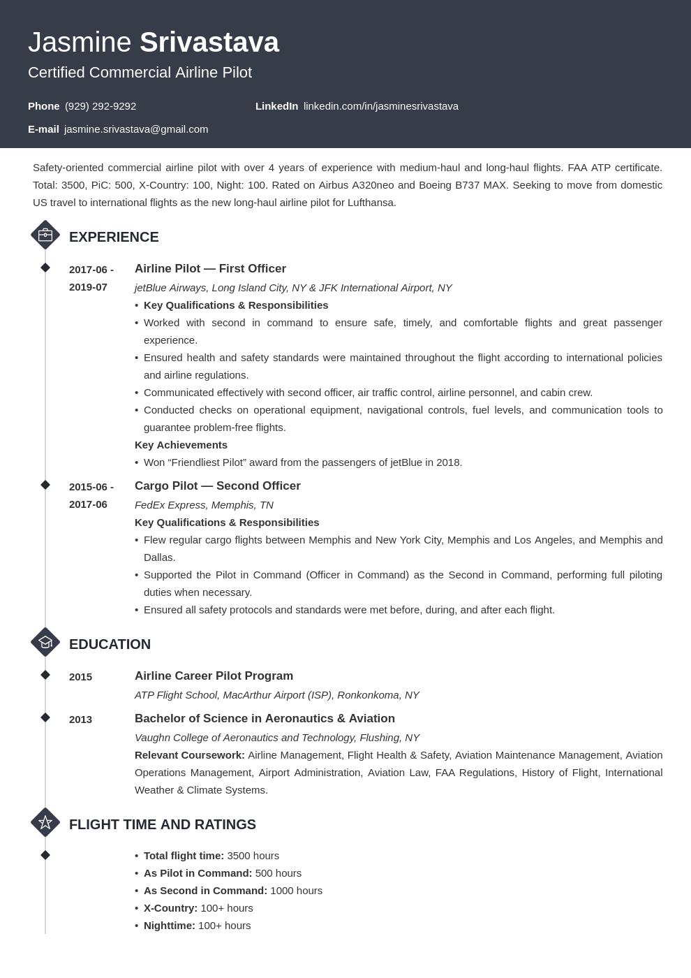 Pilot Resume Example Template Diamond In 2020 Resume Template Examples Job Resume Examples Resume Examples