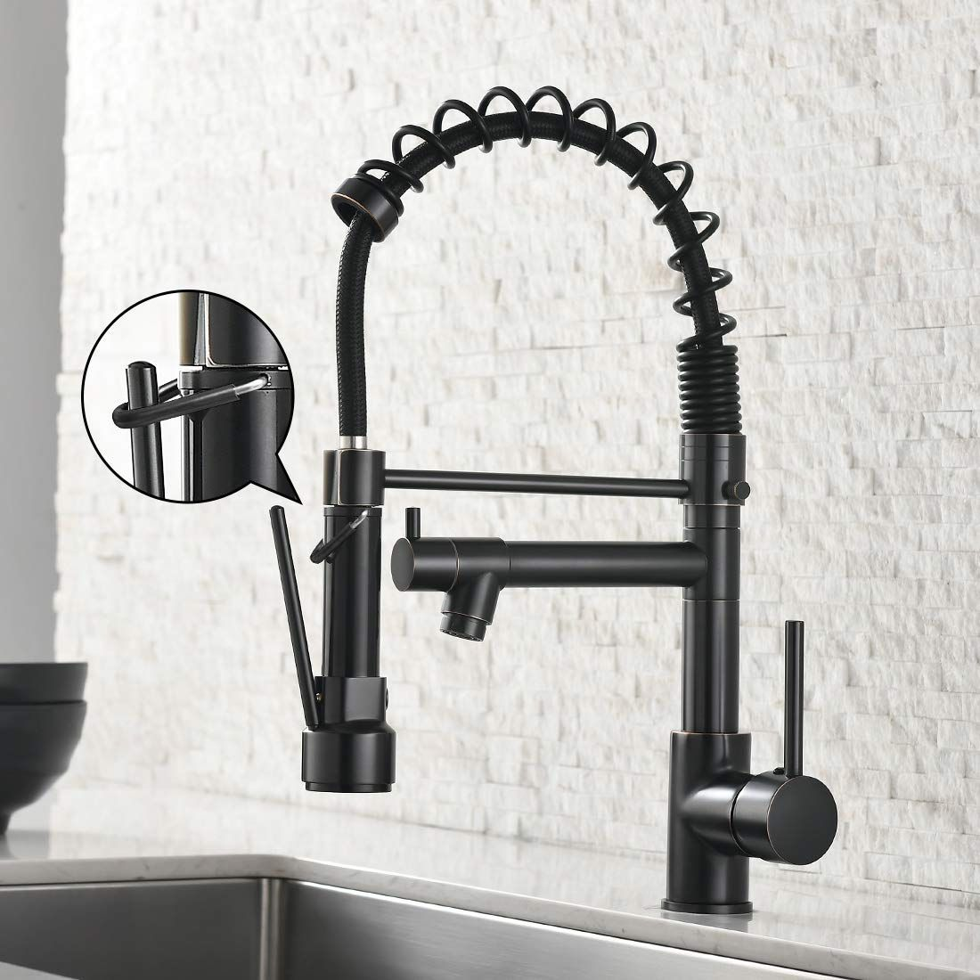 Spring Commercial Kitchen Sink Faucet,Modern Single Handle