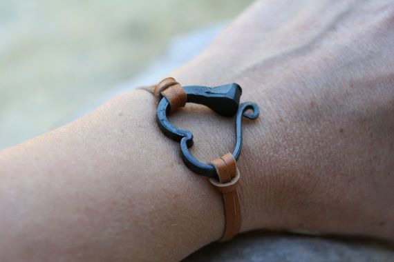 Horse shoe nail bracelet, Hand forged heart bracelet, Hand ...