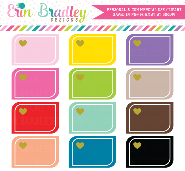 Rounded Corner Heart Boxes Clipart Clip Art Winter Planner Stickers Book Graphic Organizers
