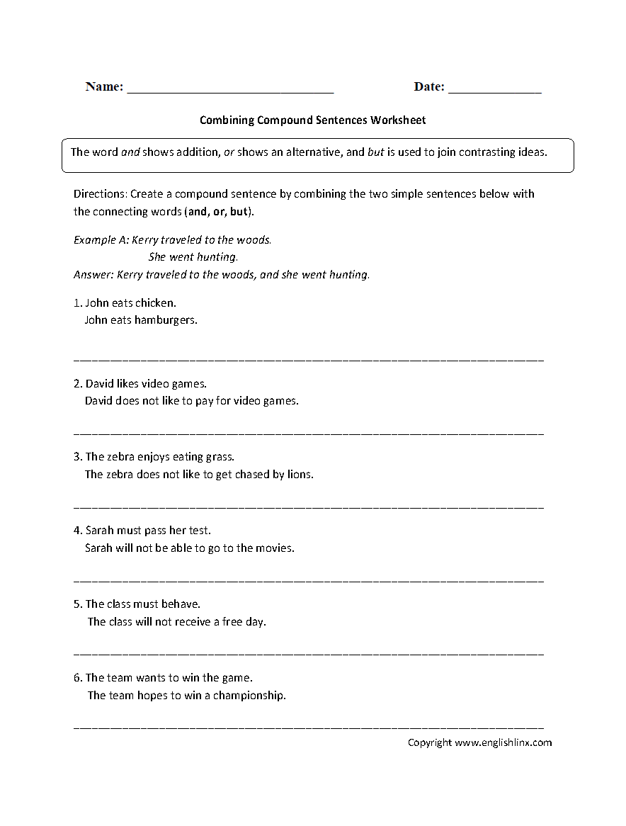 Combining Compound Sentences Worksheet | Writing prompts ...