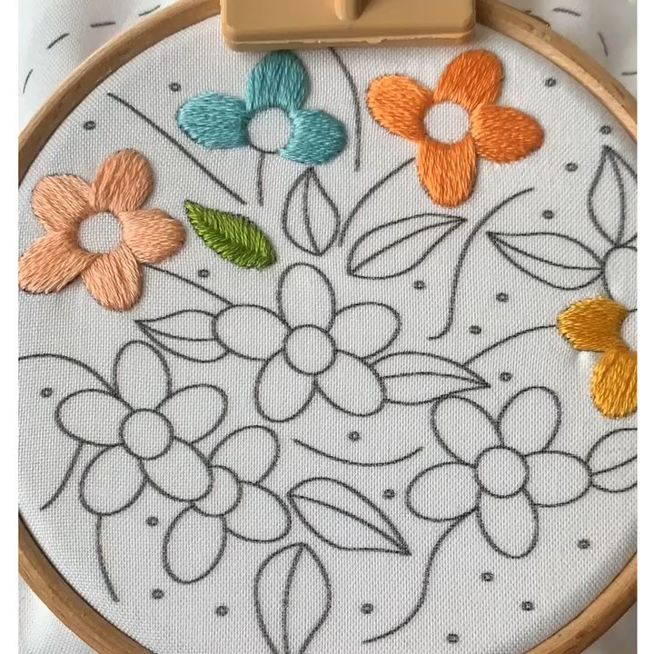 Satin stitch Satin stitching a flower petal  While filling a shape I always tend to do a natural partition first and then do right and left to complete it Did u spot the...