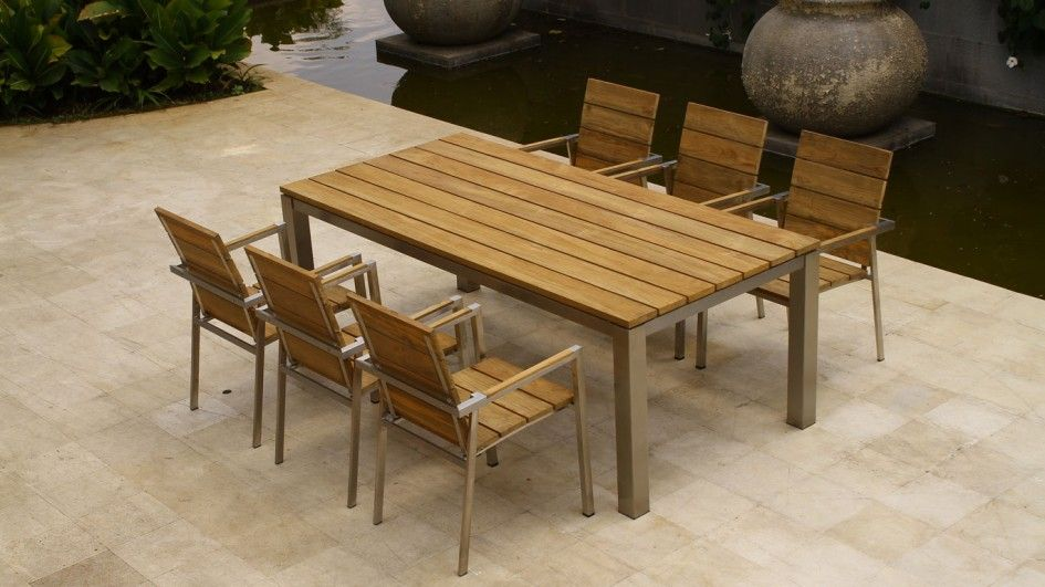 Image Result For Teak And Steel Patio Furniture With Bench Antique Outdoor Wood Furniture Modern Teak Outdoor Furniture Teak Furniture Set