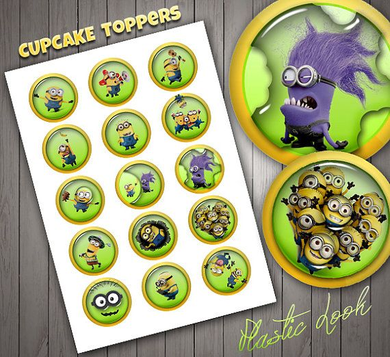 Minions Cupcake Toppers, Cristal Look, High Quality, Plastic Look, Stickers, Digital Download, Christmas Decor.