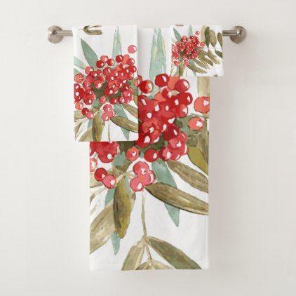 Bold Festive Watercolor Holly Berries Christmas Bath Towel Set