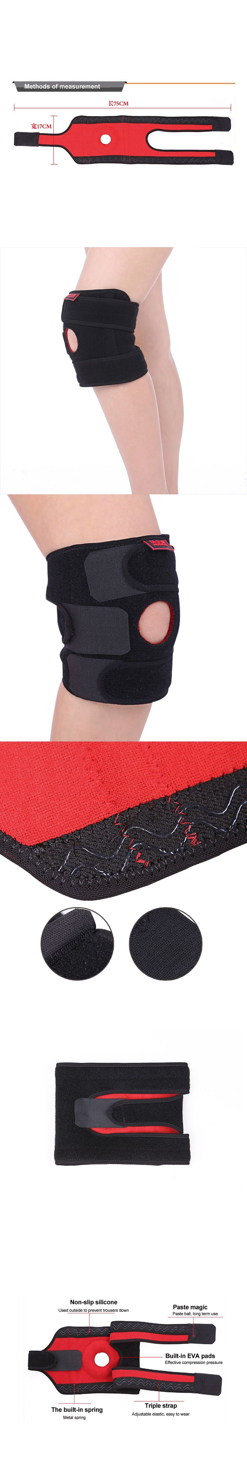 13c8a3d79e Adjustable Elastic Knee Support Brace Kneepads Patella Knee Hole Movement Kneepad  Safety Guard Running Basketball Knee