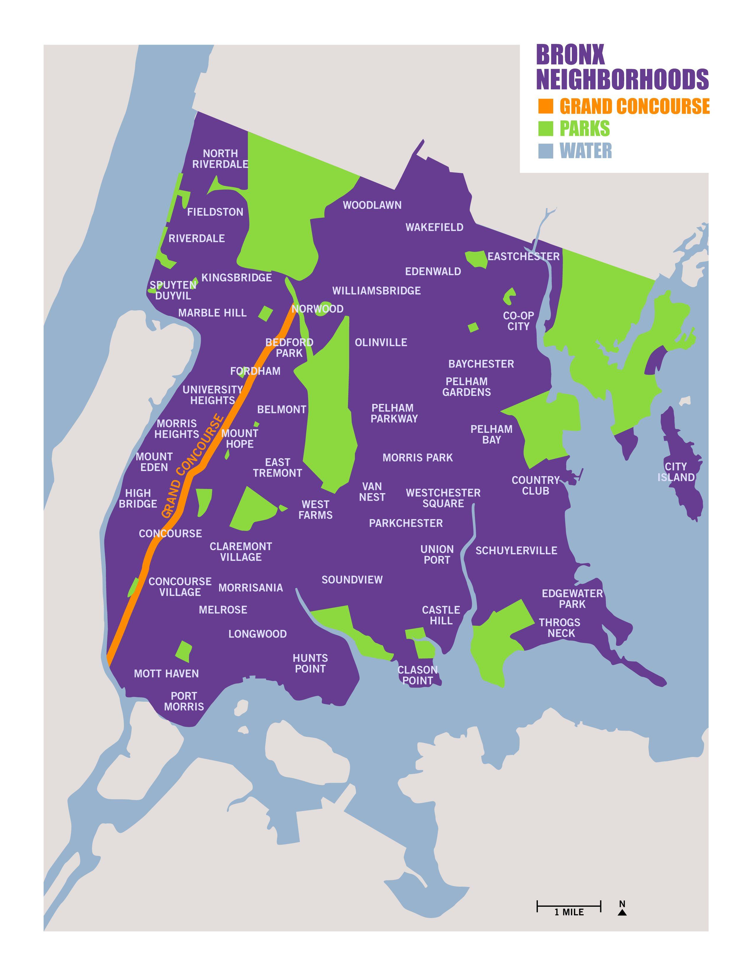 Neighborhoods Parks And Water Bronx Map Bronx The Neighbourhood