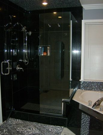 Black And White Shower Stall Renovated Master Bath Using