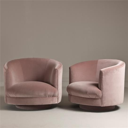 Awesome 1960s Swivel Chairs, Talisman London Pink Chairs, Pink Tub Chairs