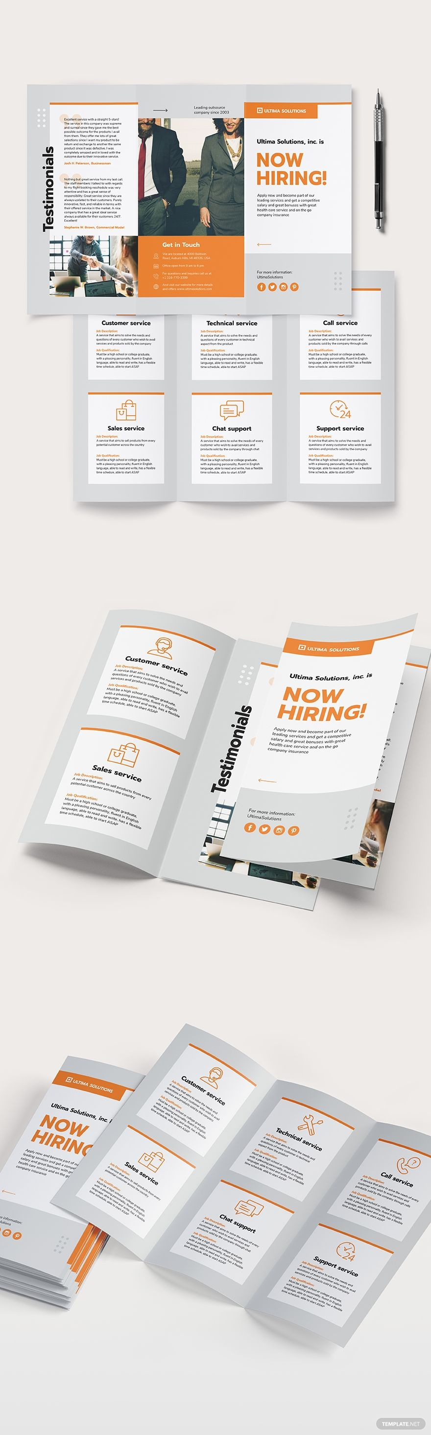 Employee Recruitment TriFold Brochure Template in 2020