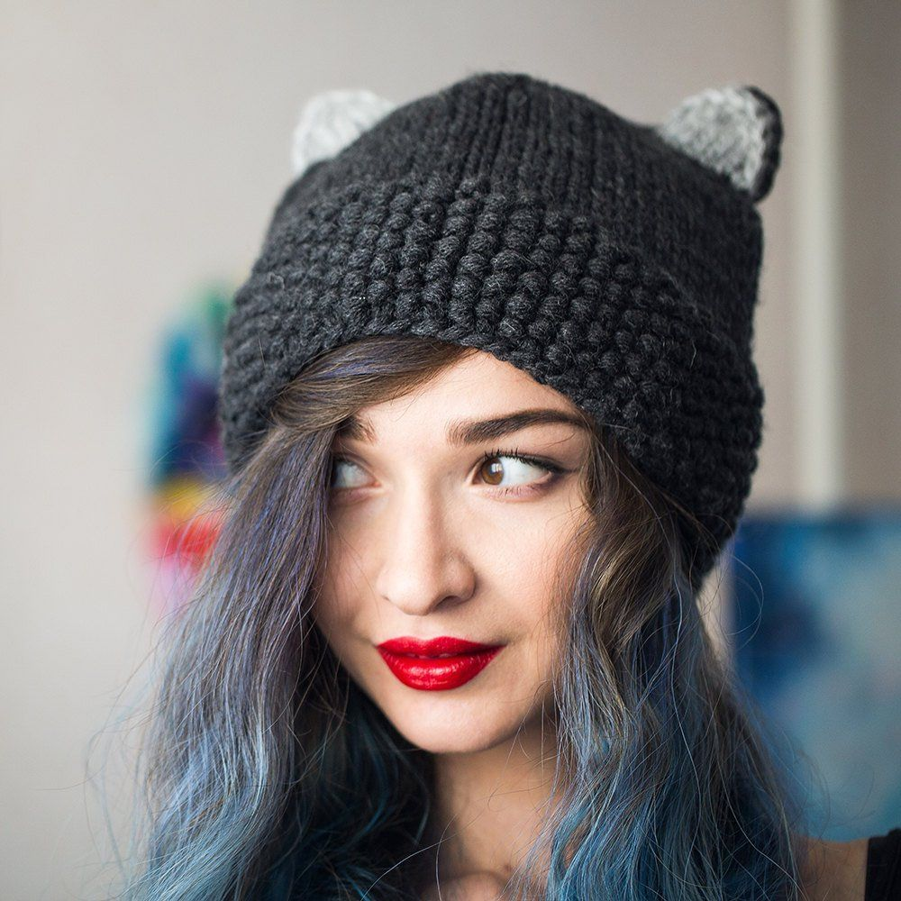 Cat ears beanie, Knitted cat hat, Hand made, Winter cat
