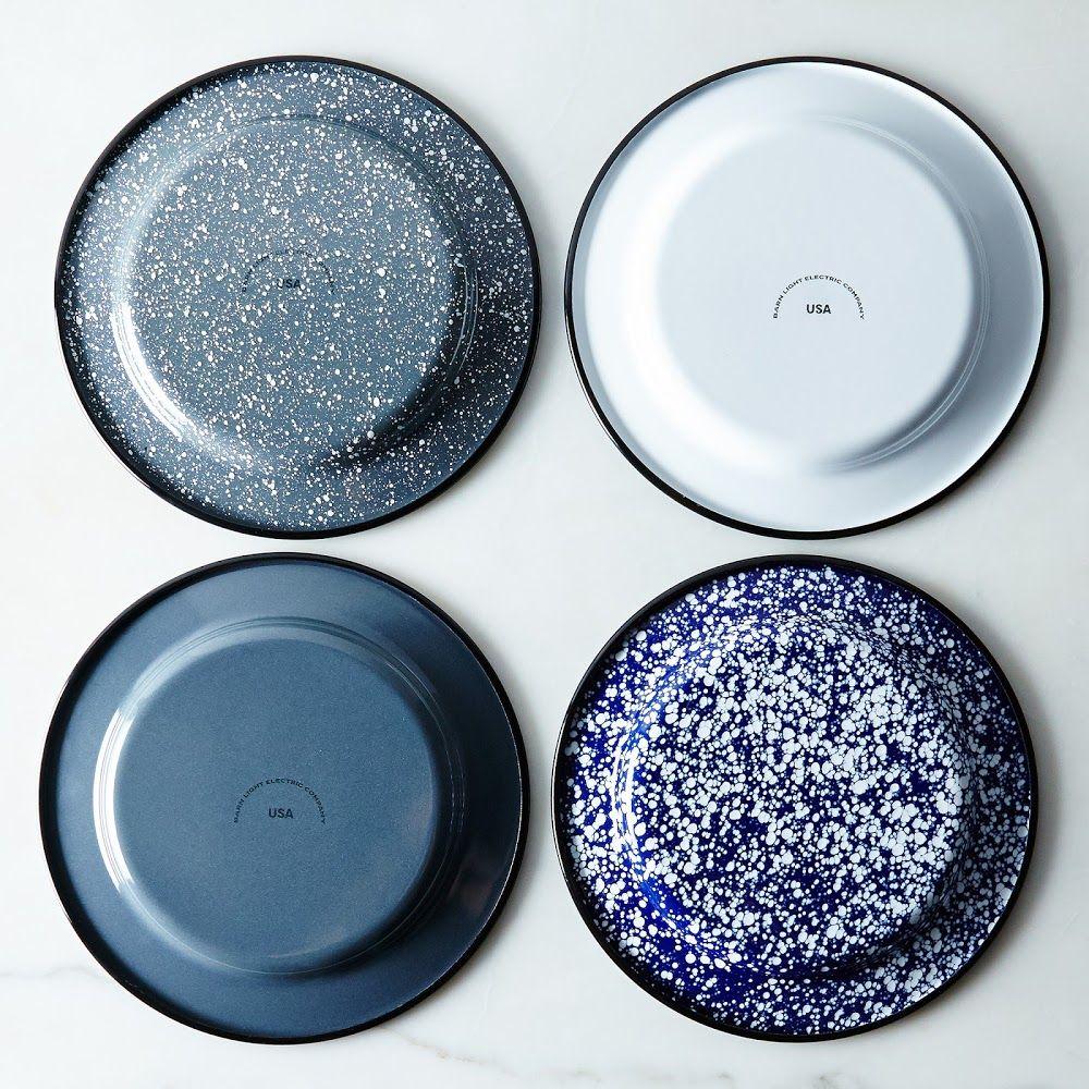 "7/"" White enamel camping round dishes blue trim enamelware bowl Plates vintage"