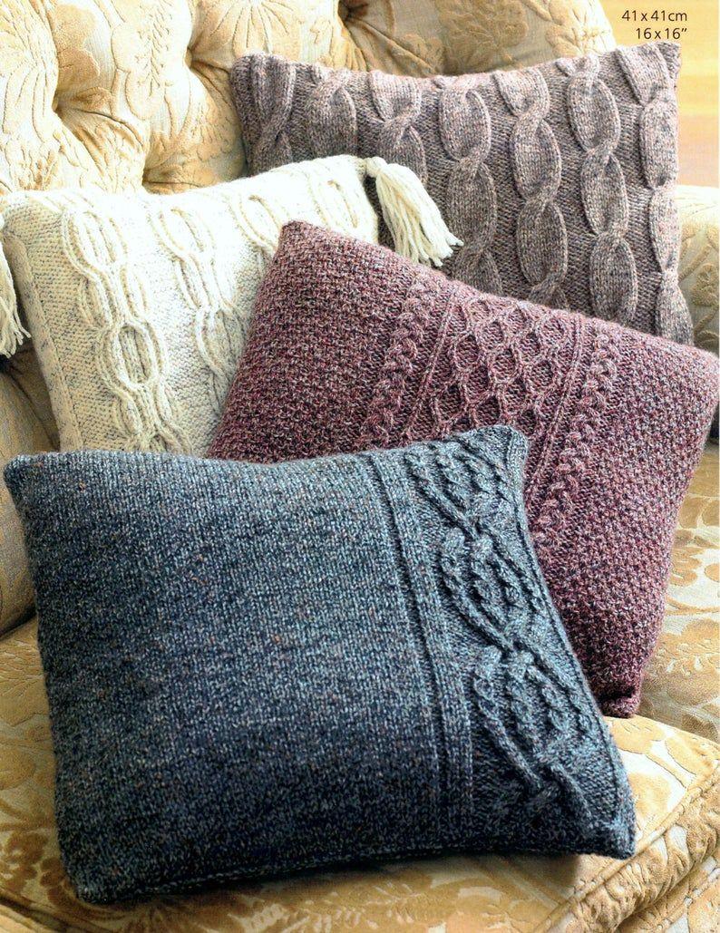 Vintage Knitting Pattern for Aran Cushions  Pillow
