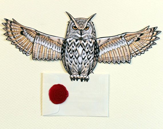 Owl Post Card Eagle Owl Articulated Paper Doll by ArdentlyCrafted