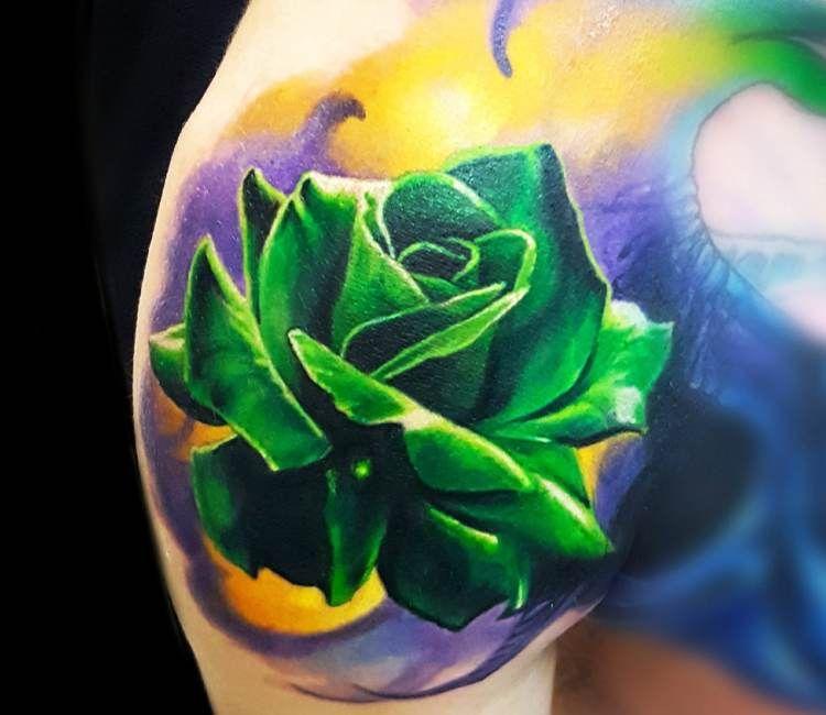 Green rose tattoo by vasilii suvorov realistic flower