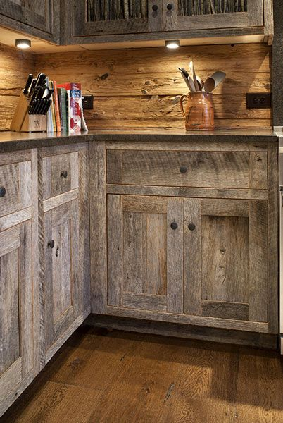 Salvaged Barn Wood That Is Kiln Dried And Then Scoured With A Wire Brush Barn Wood Cabinets Rustic Kitchen Rustic Kitchen Design