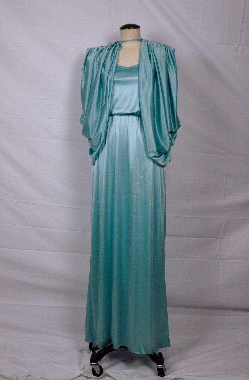 Vintage 1970s Cocktail Dress 70s Small Capelet Blue Maxi Dress Party ...
