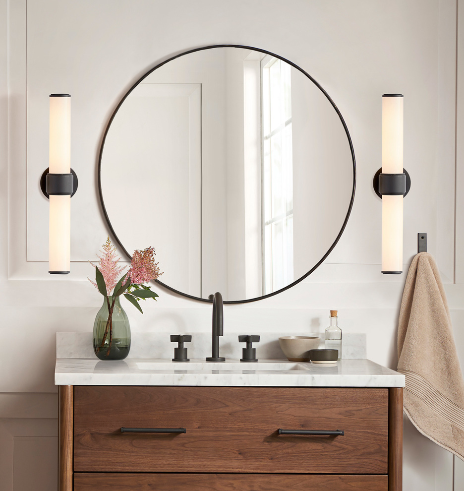 """30"""" Oil-Rubbed Bronze Round Metal Framed Mirror in 2020 ..."""