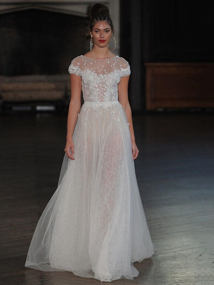 Berta A-line wedding gown with lace and tulle overlay | itakeyou.co.uk #wedding #weddingfashion #bridal #weddingdress #weddinggown #bridalgown #weddingdresses #weddinggowns #berta #bridalinspiration #weddinginspiration #engaged