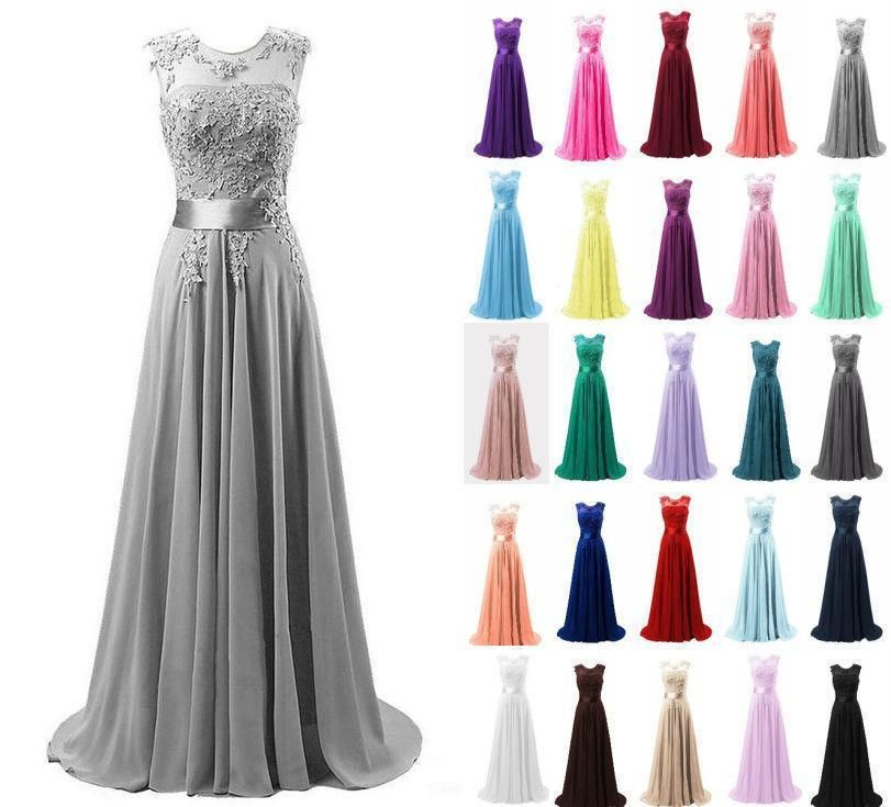Formal Long Lace Chiffon Ball Gown Prom Evening Party Bridesmaid Dress Size 6-18
