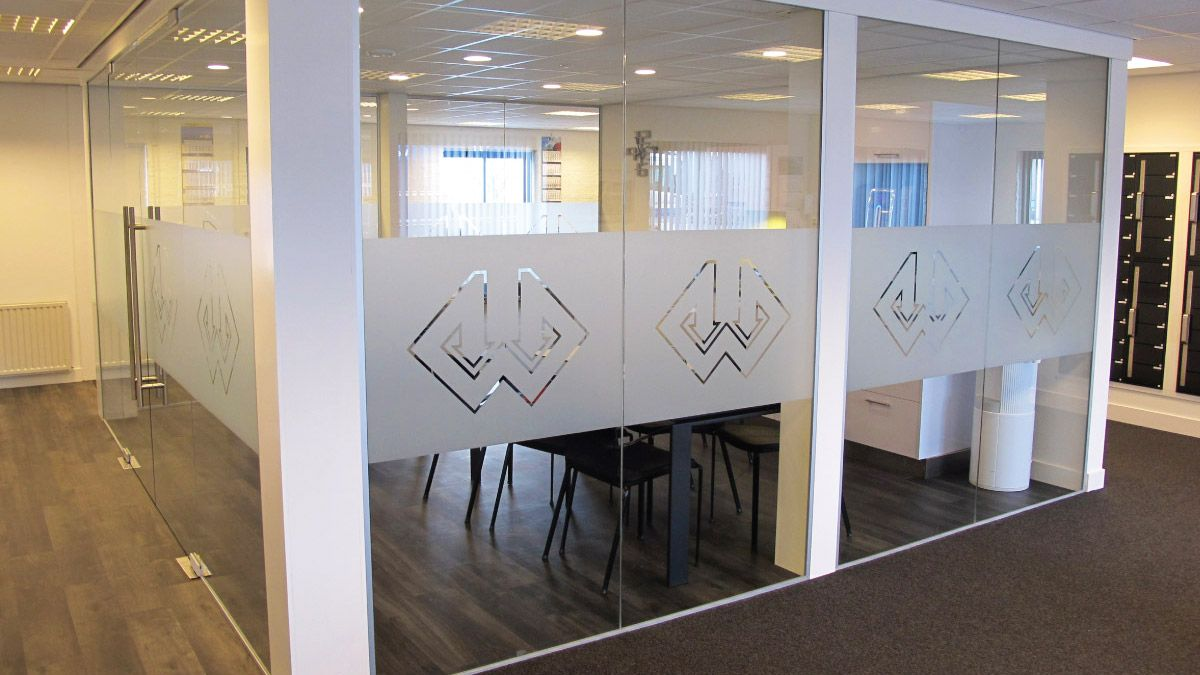 Frosted Window Film Logo Office Business Frosted Window Film - Window stickers for business