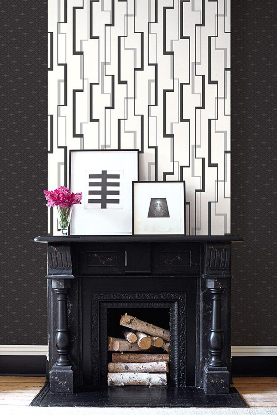 Black White Sitting Room Dining Room Wallpaper Room Wallpaper