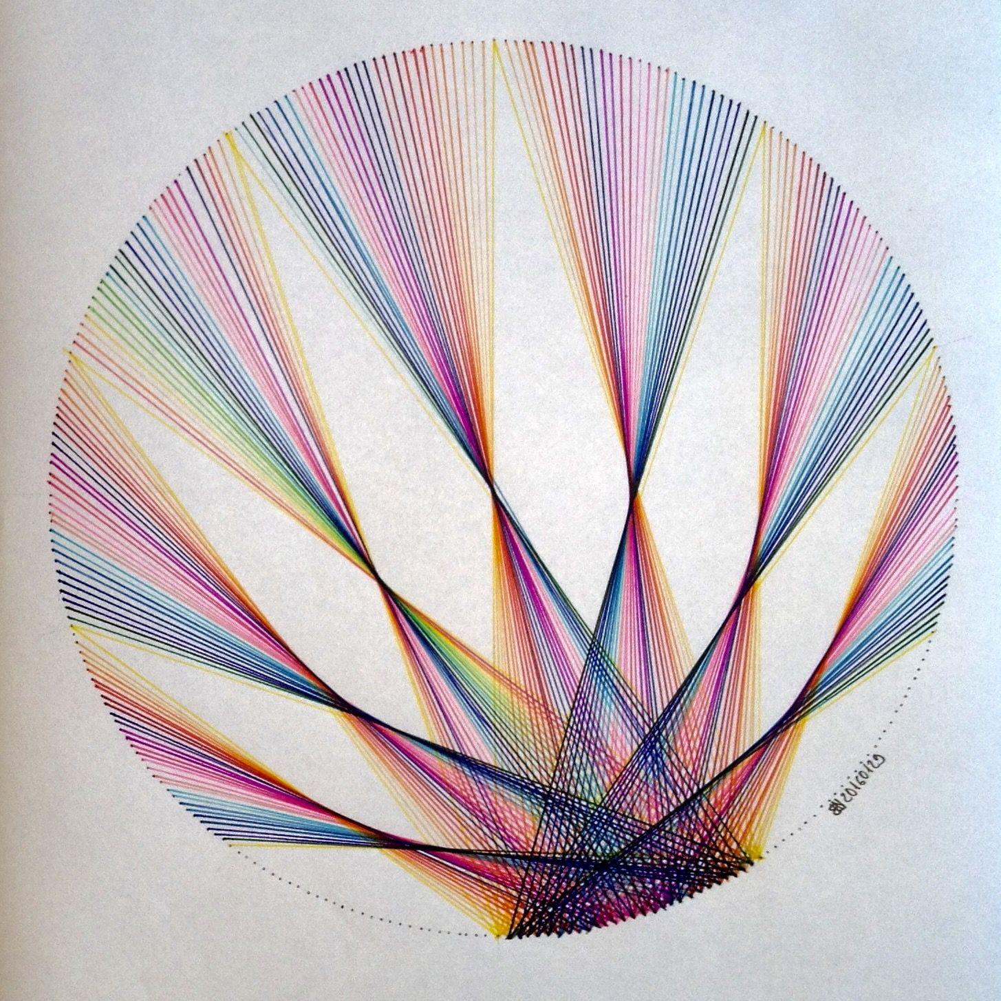 Flame Burst Pattern String Art