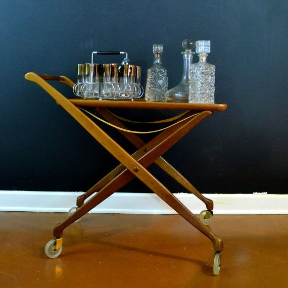 Vintage Teak Wood Bar Cart Danish Modern Mid Century Rolling Folding With Removable Serving Tray