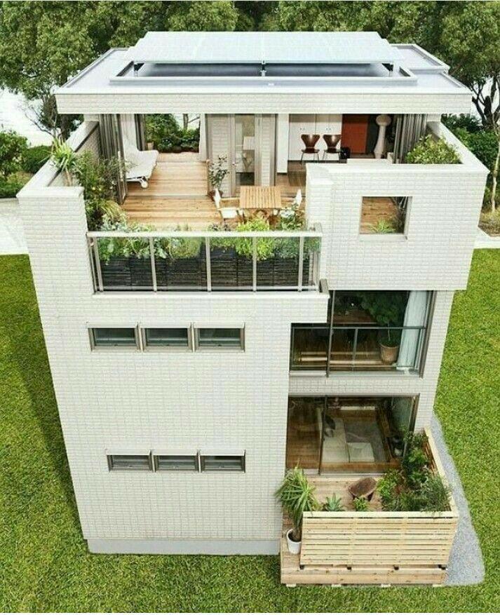 Landscapped Terrace And Minimalist Terrace Garden Rooftop Design 3 Storey House Design Minimalist House Design