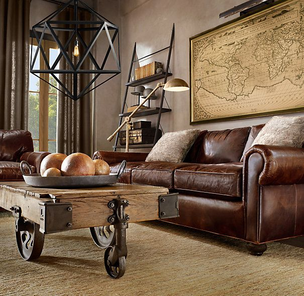 Restoration Hardware world traveler living room