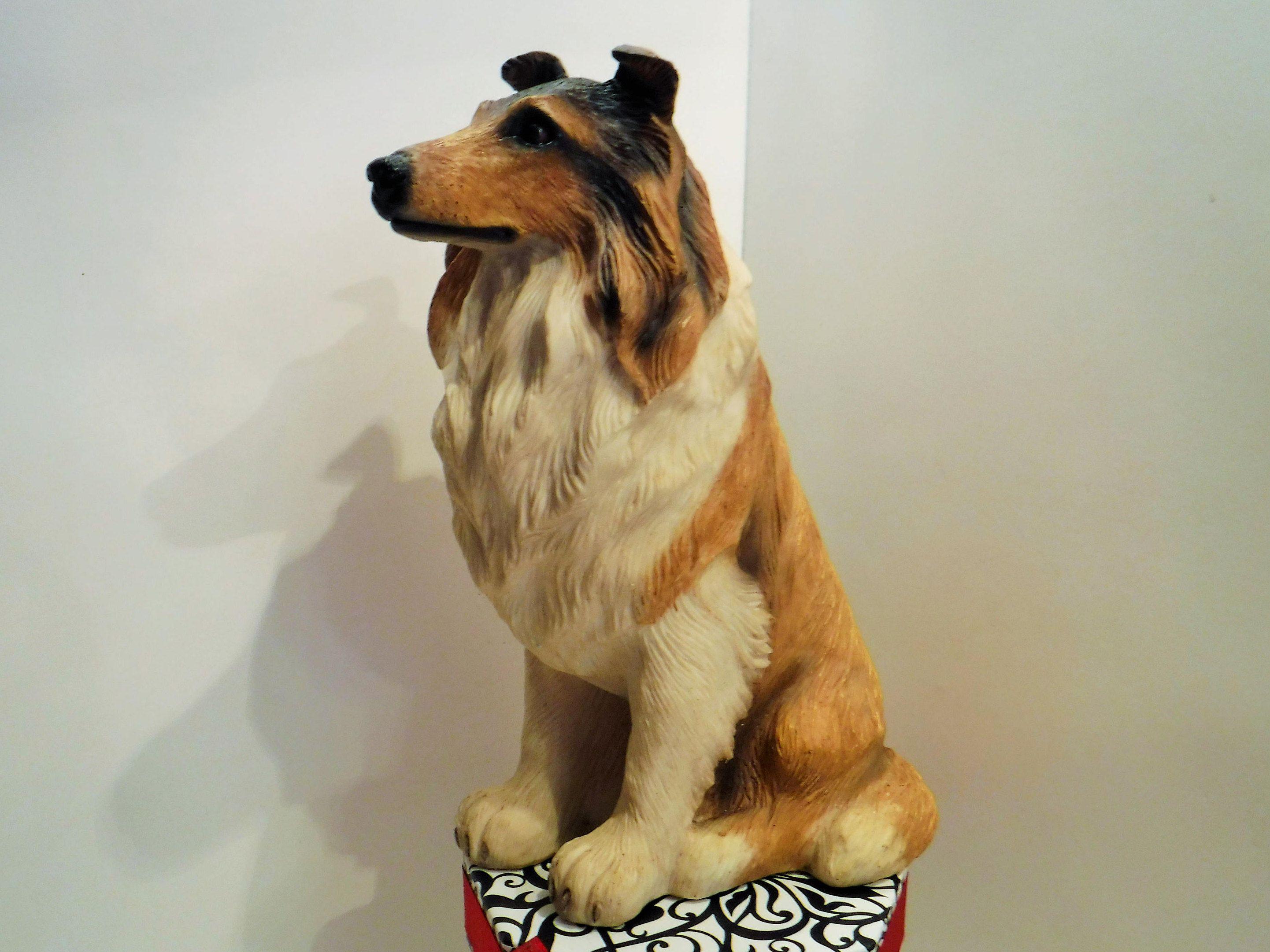vintage collie dog statue realistic dog statue collie figurine