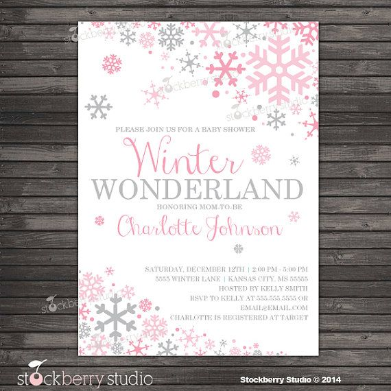 Girl Winter Baby Shower Invitation   Pink And Gray Winter Wonderland Baby  Shower Invitation   Baby